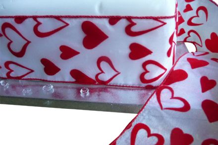 Luxury wire edge ribbon white polyester with red velvet flock hearts, Valentines day, Engagements, Weddings